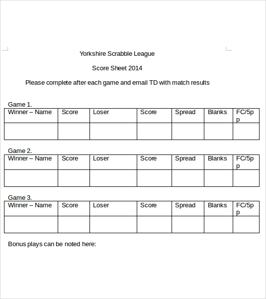 Sample Scrabble Score Sheet 6 Example Format – Sample Scrabble Score Sheet