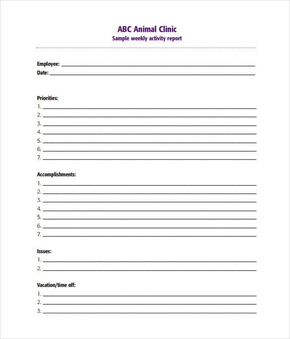 Sample Weekly Activity Report   Documents In Word Pdf
