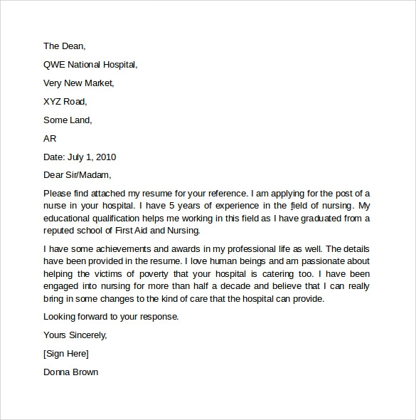 sample cover letter for nursing doc