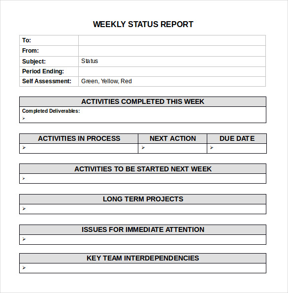 Sample Weekly Activity Reports