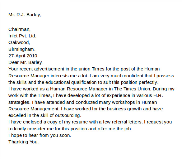 Download Sample Cover Letter For Employment. Popular General Cover