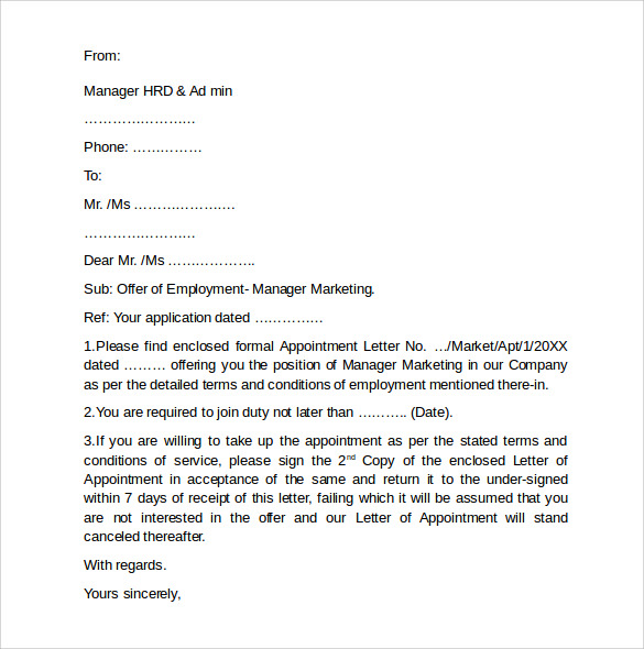 Employment Cover Letter Template 7 Free Samples Examples – Employment Cover Letters
