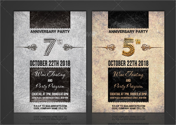 photoshop psd anniversary invitation