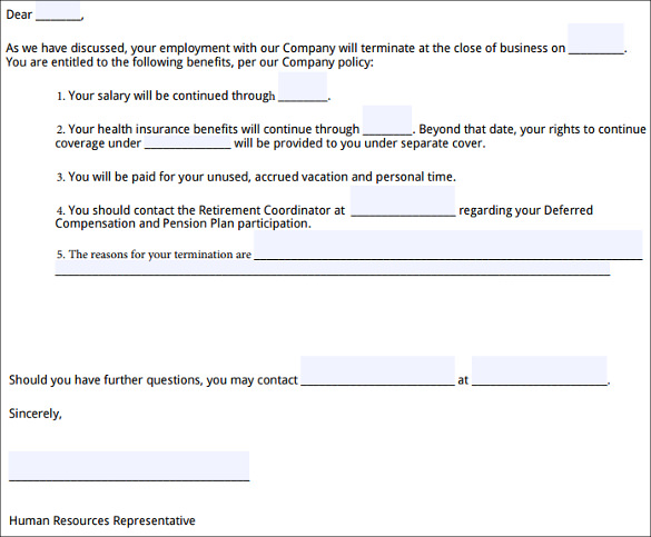 Sample Employment Termination Letter 6 Free Documents Download – Employment Termination Form Template