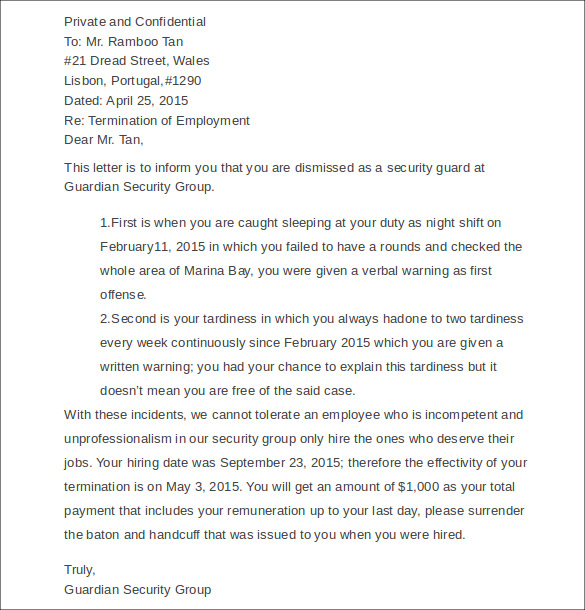 Sample Employment Termination Letter 7 Free Documents Download – Job Termination Letter