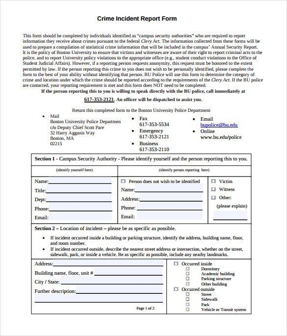 Sample Crime Report 11 Documents In Pdf Word