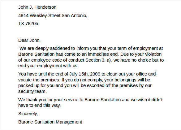 dismissal letter sample employer