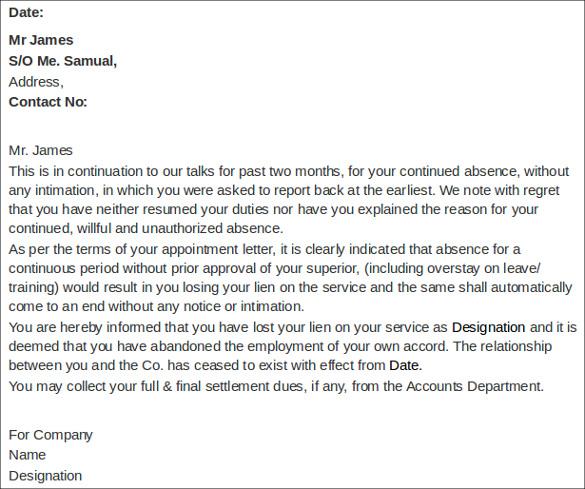 employment termination letter template .