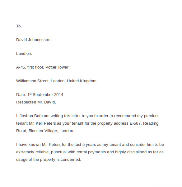 Tenant Reference Letter   Documents In Pdf Word