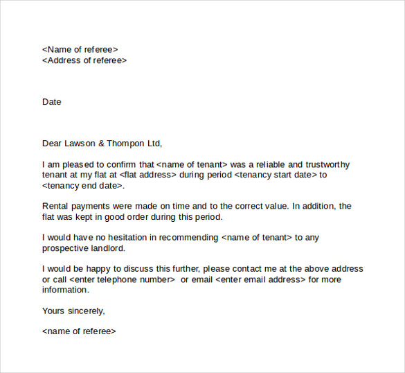 reference letter for tenants