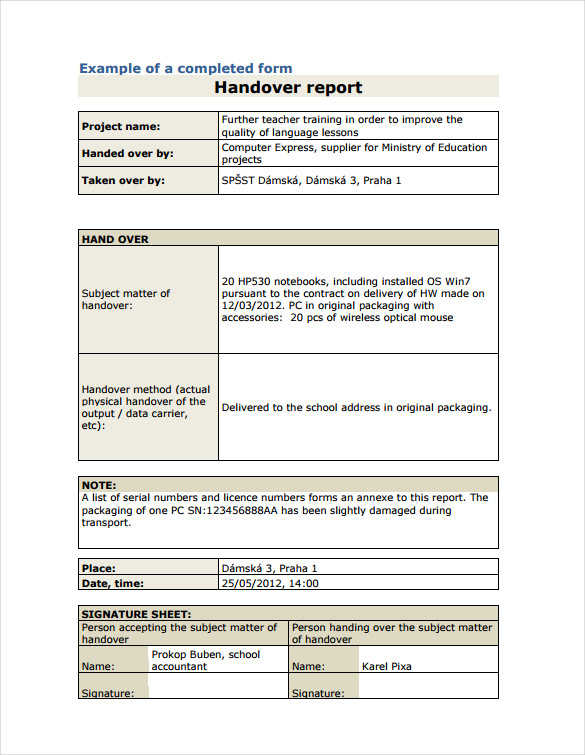 shift handover template excel