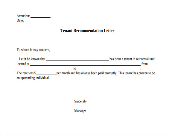 Tenant Reference Letter - 8+ Documents In PDF, Word