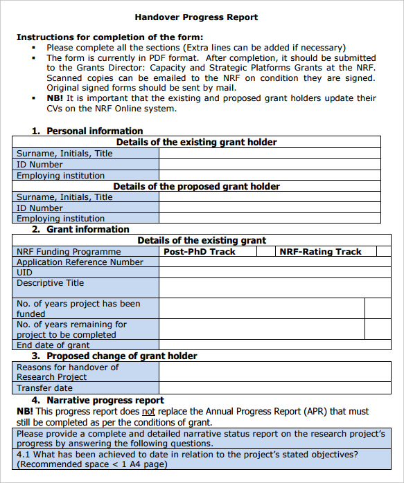 Handover Note. Sample Handover Note Template Handover Report