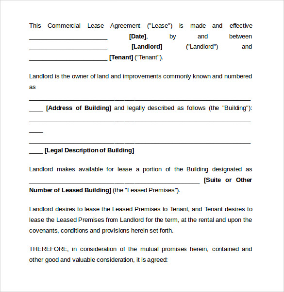 Sample Commercial Lease Agreement Template   Documents In PdfWord