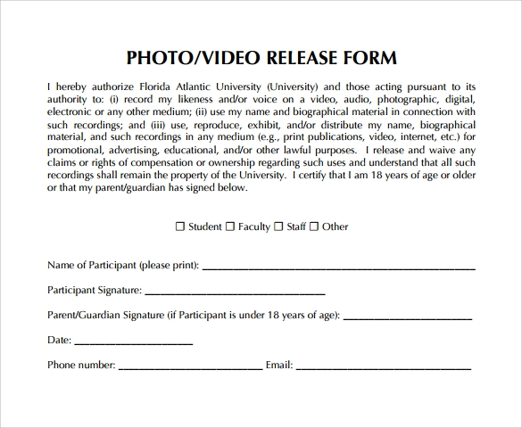 Video release form 8 samples examples format for Photography waiver and release form template