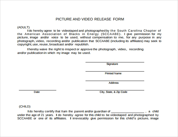 picture and video release form pdf