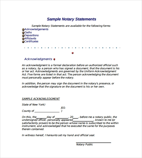 Sample Notarized Letter   Documents In Word Pdf