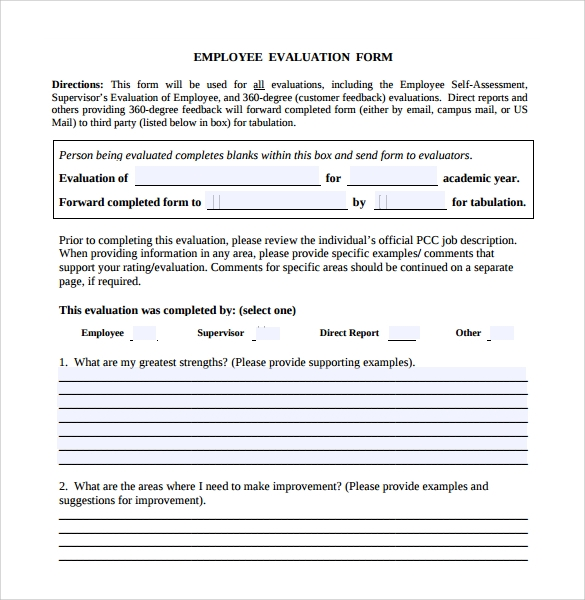 Employee Evaluation Forms 9 Samples Examples format – Employee Feedback Forms
