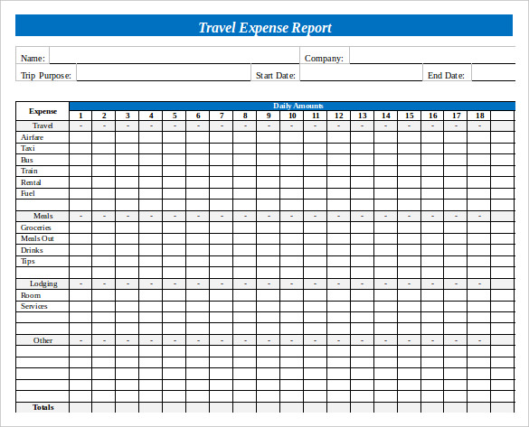 word expense report template