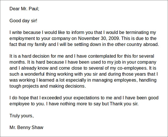 company termination letter