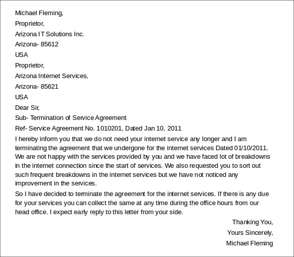 service agreement termination letter