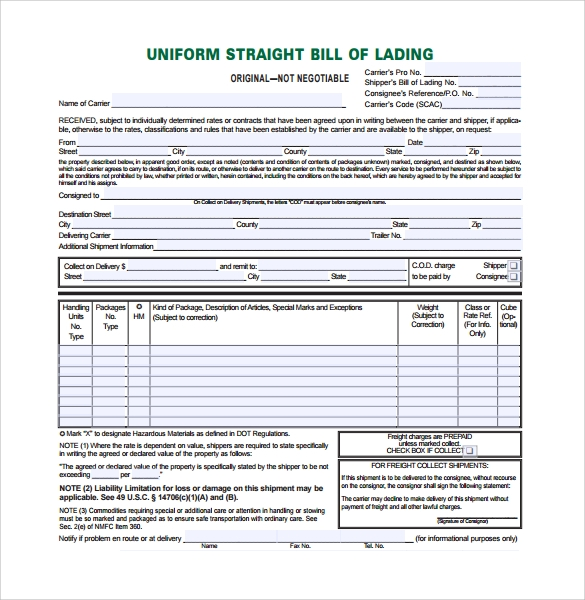 10 bill of lading forms to download for free