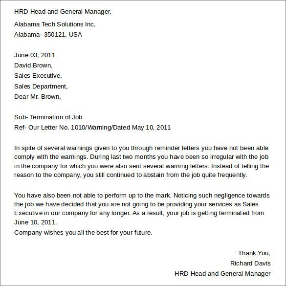 letter for job termination