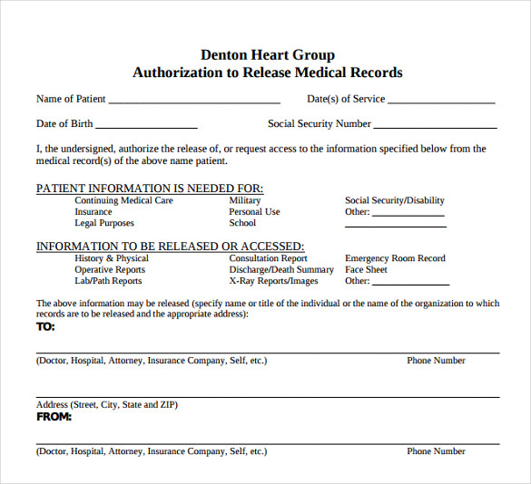 medical release form template notimeagain – Medical Record Form Template