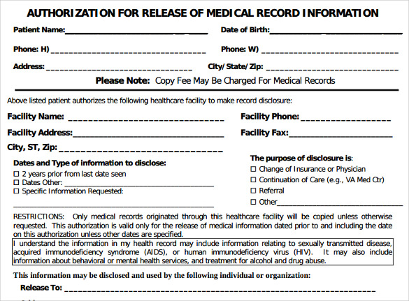 generic medical records release form 7 download free documents in