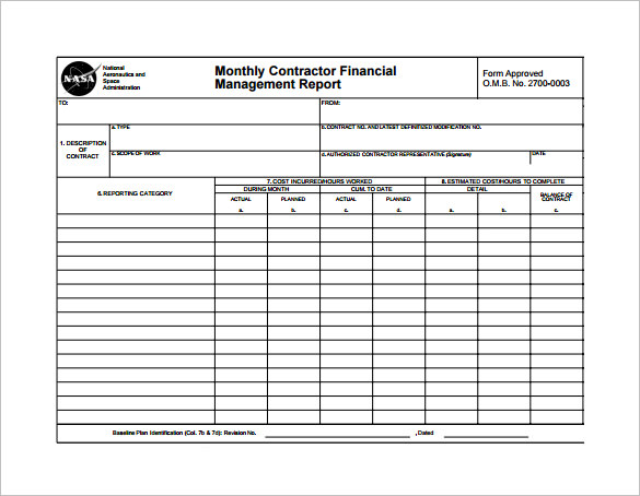 monthly contractor financial management report template