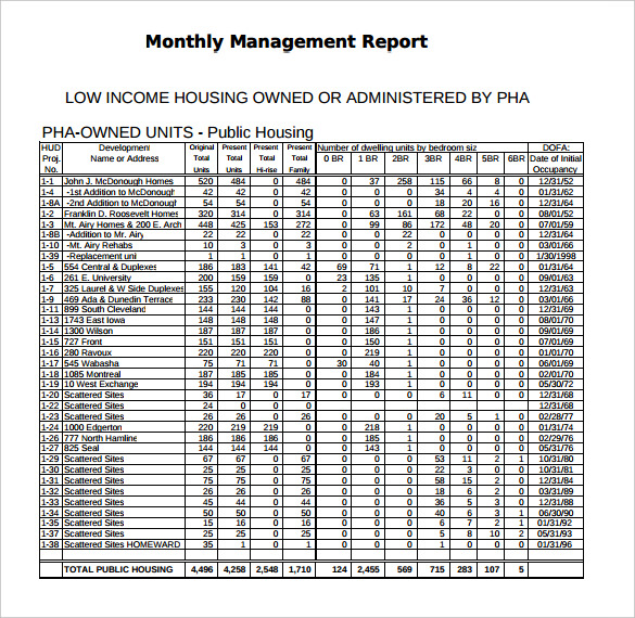 free download pdf monthly management report template