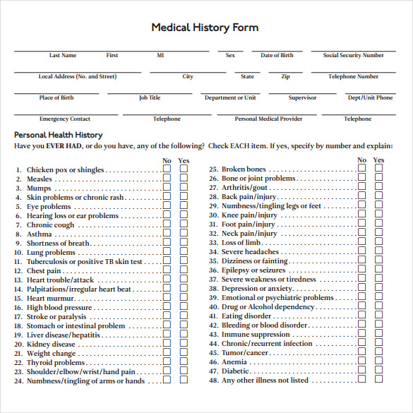 Medical History Form   Download Free Documents In Pdf Word
