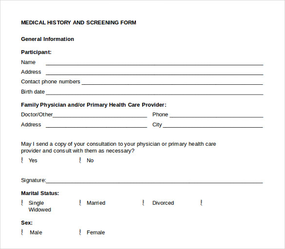 medical history form 10  download free documents in pdf  word
