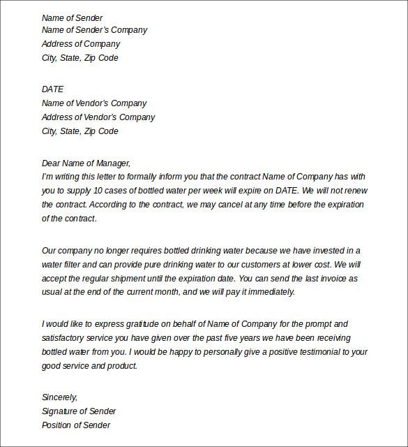 Vendor Contract Cancellation Letter 28 Images Sle - Agreement Letter For Vendor | Letter Sample