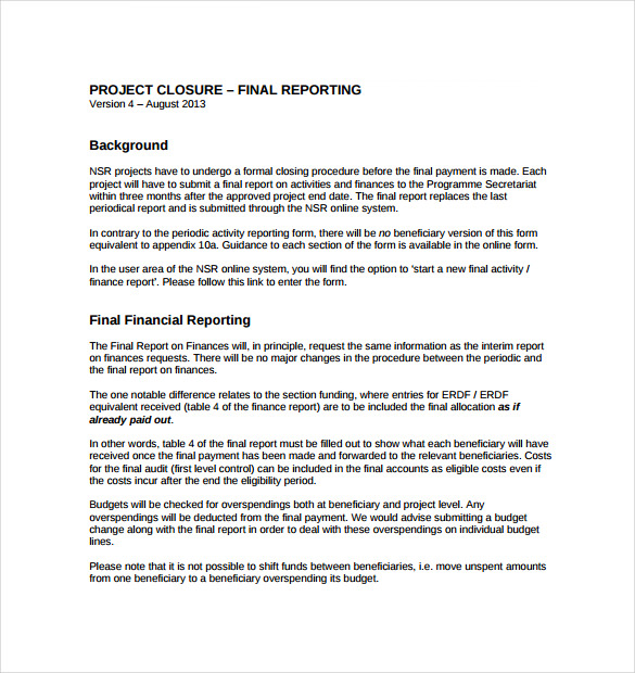 free download pdf project closure report template