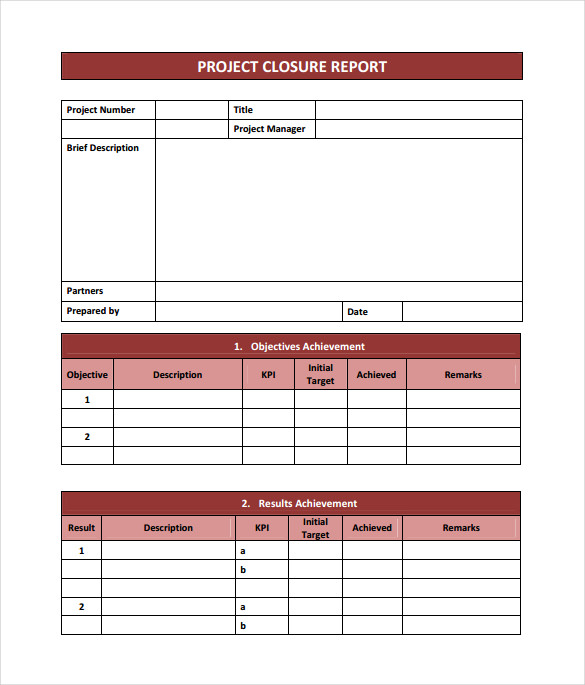 download project closure report template in pdf