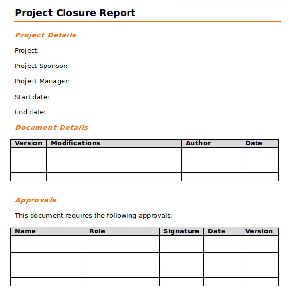 9 sample project closure report template examples sample for End of project report template