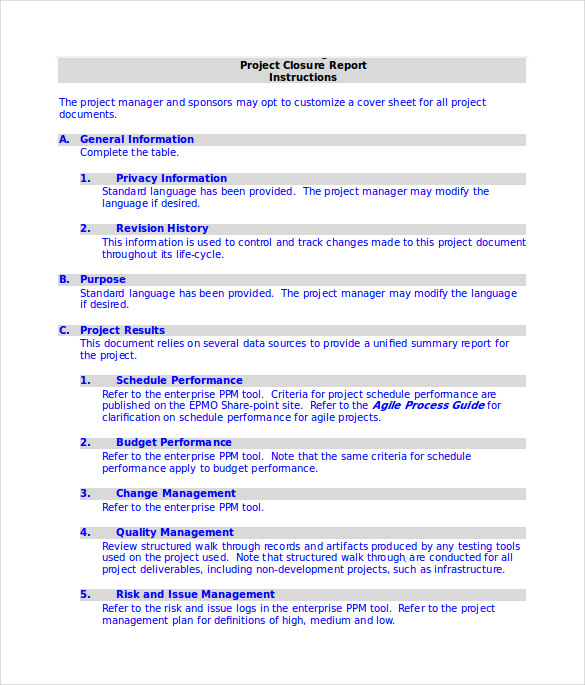 best project closure report template in word