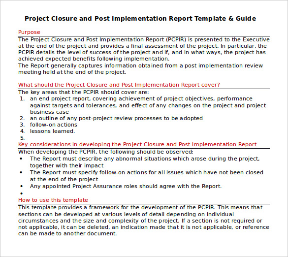 download project closure report template in word
