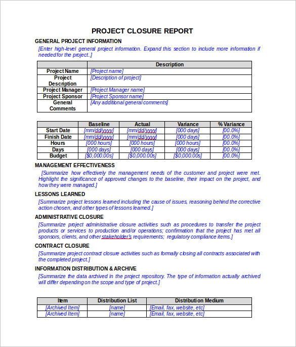 project closure report template in word