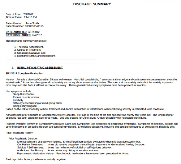 sample example for discharge summary template