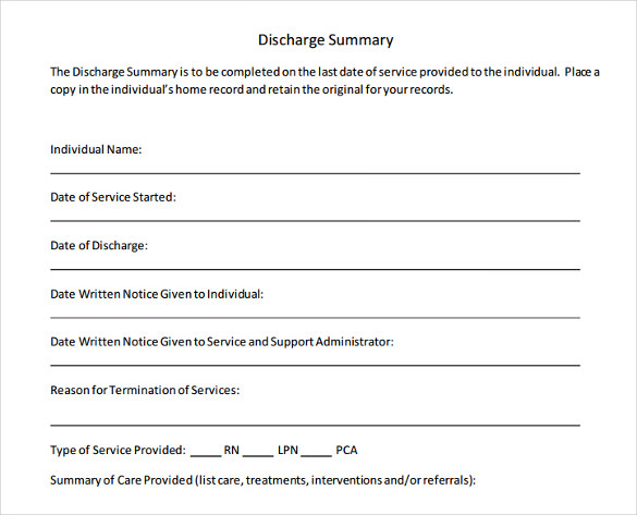 a sample discharge summary template