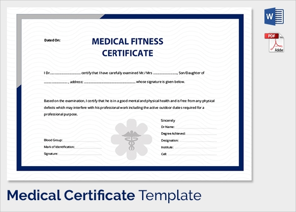 Sample Medical Certificate   Download Documents In Pdf  Word