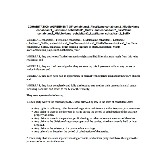 Sample Cohabitation Agreement 7 Documents In PDF Word – Sample Cohabitation Agreement Template