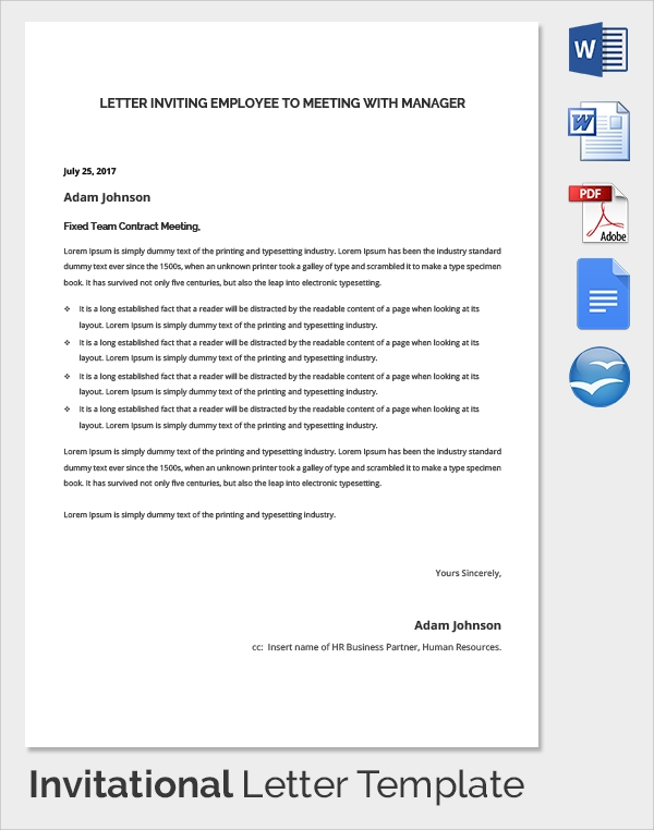 Sample invitation letter 17 download free documents in pdf word employee meeting invitation letter stopboris Images