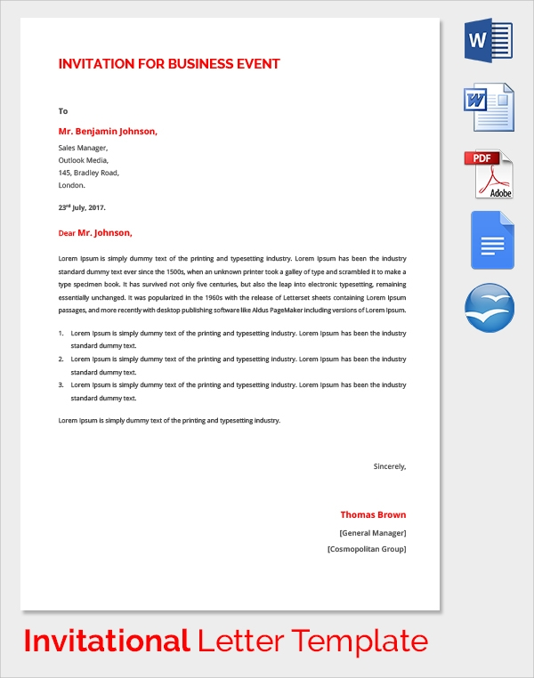 Sample invitation letter 17 download free documents in pdf word business event invitation letter stopboris