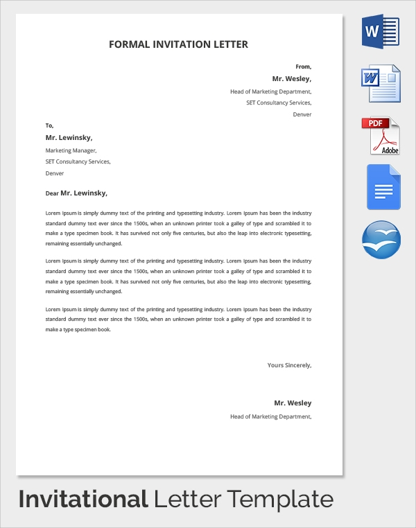 Sample invitation letter 17 download free documents in pdf word 18 invitation letters stopboris Images