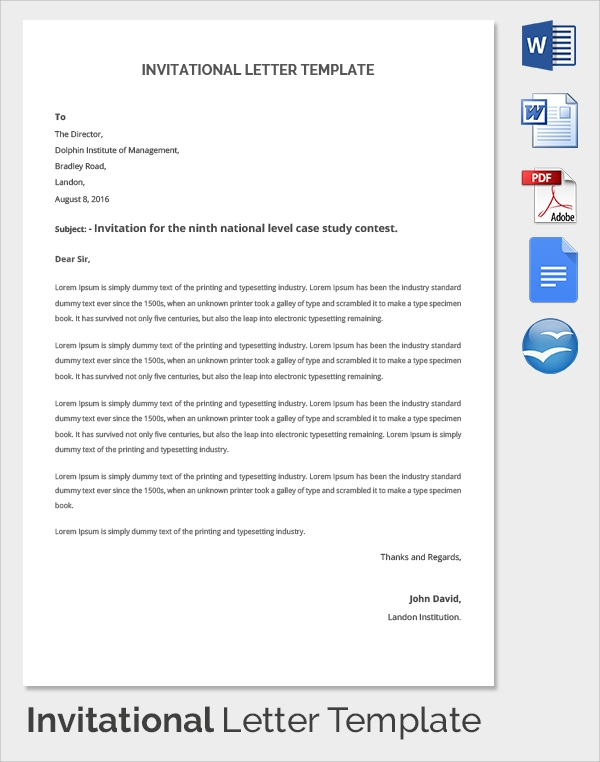 Sample Invitation Letter   Download Free Documents In Pdf Word