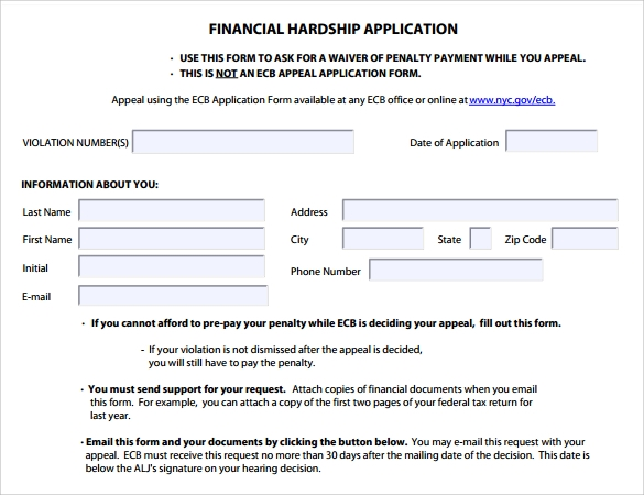 financial hardship application form