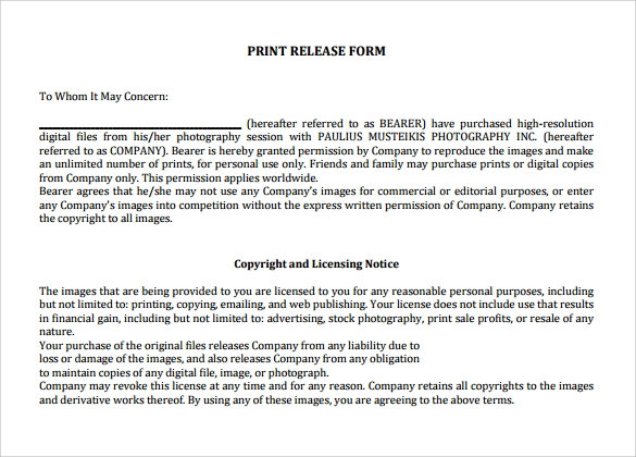 download print release form